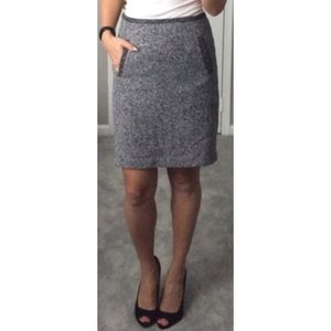 Tweed Skirt With Front Pockets